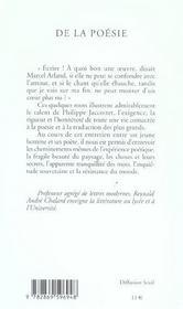 De La Poesie - Entretiens Avec Reynald Andre Chalard - 4ème de couverture - Format classique