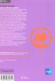 La Gestion Des Ages ; Pour Vieillir En Travaillant - 4ème de couverture - Format classique