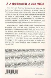 A La Recherche De La Ville Perdue - 4ème de couverture - Format classique