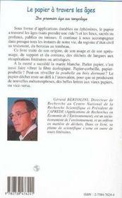 Le Papier A Travers Les Ages ; Du Premier Age Au Recyclage - 4ème de couverture - Format classique