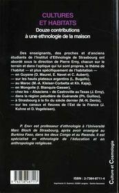 Cultures Et Habitats ; Douze Contributions A Une Ethnologie De La Maison - 4ème de couverture - Format classique