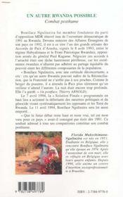 Autre Rwanda Possible (Un) Combat Posthume - 4ème de couverture - Format classique