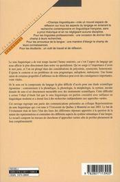 Representation Du Sens Linguistique - 4ème de couverture - Format classique