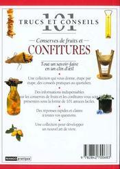 Conserves de fruits et confitures - 4ème de couverture - Format classique