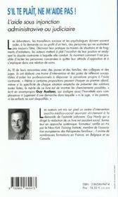 S'Il Te Plait Ne M'Aide Pas! L'Aide Sous Injonction Administrative Ou Judiciaire - 4ème de couverture - Format classique