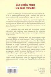 Aux Petits Maux Les Bons Remedes - 4ème de couverture - Format classique