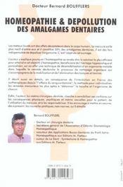 Homeopathie Depollution Amalg. Dentaires - 4ème de couverture - Format classique