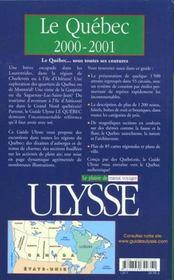 Guide Ulysse ; Quebec 2000-2001 - 4ème de couverture - Format classique