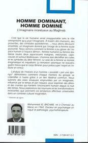 Homme dominant, homme dominé ; l'imaginaire incestueux au Maghreb - 4ème de couverture - Format classique