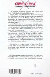 Crime Oublie Au Congo Brazzaville - 4ème de couverture - Format classique