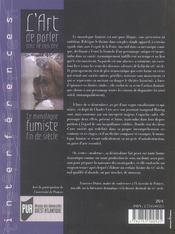 Art De Parler Pour Ne Rien Dire. Monologue Fumiste - 4ème de couverture - Format classique