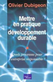 Mettre En Pratique Le Développement Durable. Quels Processus Pour L'Entreprise Responsable ? - Intérieur - Format classique