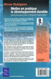 Mettre En Pratique Le Développement Durable. Quels Processus Pour L'Entreprise Responsable ? - 4ème de couverture - Format classique