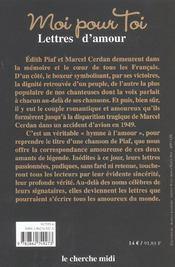 Moi Pour Toi ; Lettres D'Amour - 4ème de couverture - Format classique