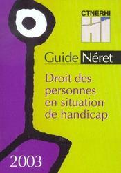 Droit Des Personnes En Situation De Handicap ; Edition 2003 - Intérieur - Format classique