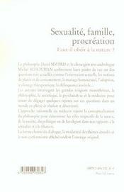 Sexualite, Famille, Procreation ; Faut-Il Obeir A La Nature ? - 4ème de couverture - Format classique