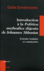 Introduction A La Polititca Methodice Digesta De Johannes Althusius - Couverture - Format classique
