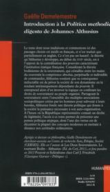 Introduction A La Polititca Methodice Digesta De Johannes Althusius - 4ème de couverture - Format classique