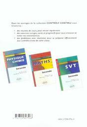 Controle Continu ; Mathématiques ; 2nde - 4ème de couverture - Format classique