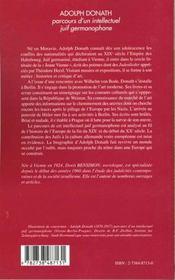 Adolph Donath ; Parcours D'Un Intellectuel Juif Germanophone ; Vienne ; Berlin ; Prague - 4ème de couverture - Format classique