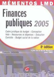 Memento Finances Publiques 2005 - Intérieur - Format classique