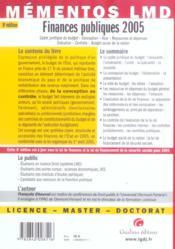 Memento Finances Publiques 2005 - 4ème de couverture - Format classique