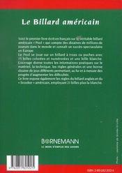 Le billard americain , le snooker - 4ème de couverture - Format classique