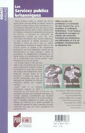 Services Publics Britanniques - 4ème de couverture - Format classique