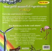 Mon petit manuel de l'écologie - 4ème de couverture - Format classique