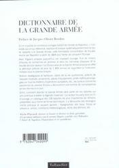 Dictionnaire De La Grande Armee - 4ème de couverture - Format classique