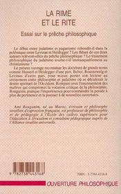La Rime Et Le Rite ; Essai Sur Le Preche Philosophique - 4ème de couverture - Format classique