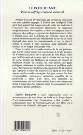 Vote Blanc Pour Un Suffragevraiment Universel - 4ème de couverture - Format classique