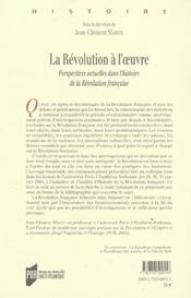 Revolution a l oeuvre - 4ème de couverture - Format classique