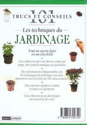 Les techniques de jardinage - 4ème de couverture - Format classique