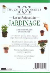 Les techniques du jardinage - 4ème de couverture - Format classique