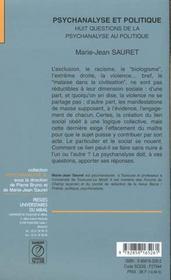 Psychanalyse Et Politique Huit Questions De La Psychanalyse Au Politique - 4ème de couverture - Format classique
