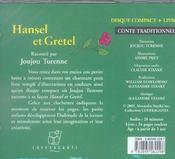 Hansel et Gretel - 4ème de couverture - Format classique