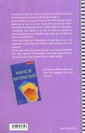 Mathématiques ; première L ; fiches de travayx dirigés ; travaux pratiques d'informartique - 4ème de couverture - Format classique