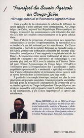 Transfert Du Savoir Agricole Au Congo-Zaire ; Heritage Colonial Et Recherche Agronomique - 4ème de couverture - Format classique
