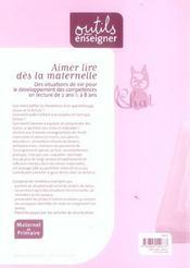 Aimer Lire Des La Maternelle Des Situations De Vie Pour Le Devlpt Des Competences En Lecture De 2 An - 4ème de couverture - Format classique