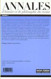 Annales D'Histoire Et De Philosophie Du Vivant, N 3 - 4ème de couverture - Format classique