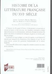 Histoire De La Litterature Francaise Du 16e Siecle - 4ème de couverture - Format classique