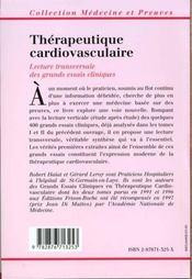 Therapeutique Cardiovasculaire 2eme Edition - 4ème de couverture - Format classique