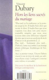 Hors Les Liens Sacres Du Mariage - 4ème de couverture - Format classique