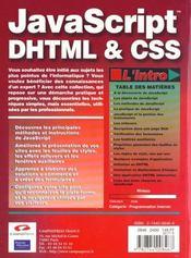 L'Intro Javascript, Dhtml & Css - 4ème de couverture - Format classique