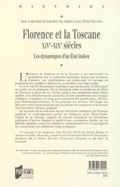 Florence Et La Toscane - 4ème de couverture - Format classique
