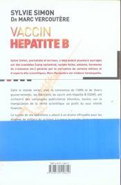 Vaccin Hepatite B - Coulisse D'Un Scandale - 4ème de couverture - Format classique