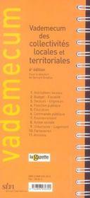Vademecum Des Collectivités Locales Et Territoriales (7e Edition) (6e édition) - 4ème de couverture - Format classique