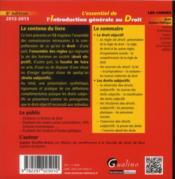 L'essentiel de l'introduction générale au droit ; 2012-2013 (8e édition) - 4ème de couverture - Format classique