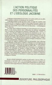 L'Action Politique Des Personnalites Et L'Ideologie Jacobine ; Rationalisme Et Passions Revolutionnaires - 4ème de couverture - Format classique